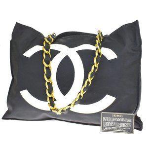 Authentic CHANEL CC Logo Chain Shoulder Tote Bag